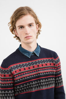 Pullover tricot con ricami G&H, Blu navy, hi-res