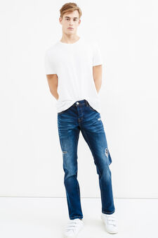 Slim-fit worn-effect jeans with rips, Medium Wash, hi-res