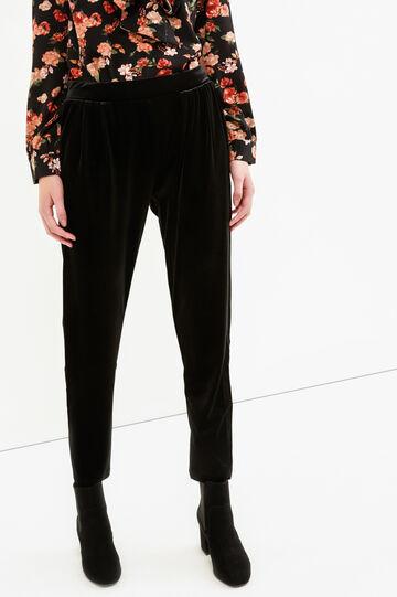 Stretch velvet trousers, Black, hi-res