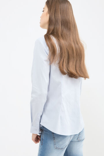 Pleated stretch blouse, Light Blue, hi-res
