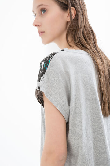 100% cotton T-shirt with floral print, Grey, hi-res