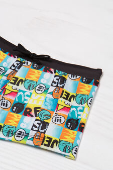 Swim boxer shorts with print and drawstring, Multicolour, hi-res