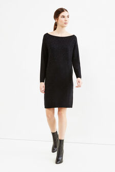 Viscose blend dress with diamantés, Black, hi-res