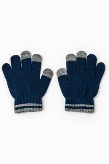 Solid colour gloves with ribbing, Multicolour, hi-res