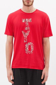 T-shirt girocollo misto cotone  , Rosso, hi-res
