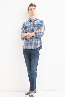 Checked cotton shirt, Blue/Orange, hi-res