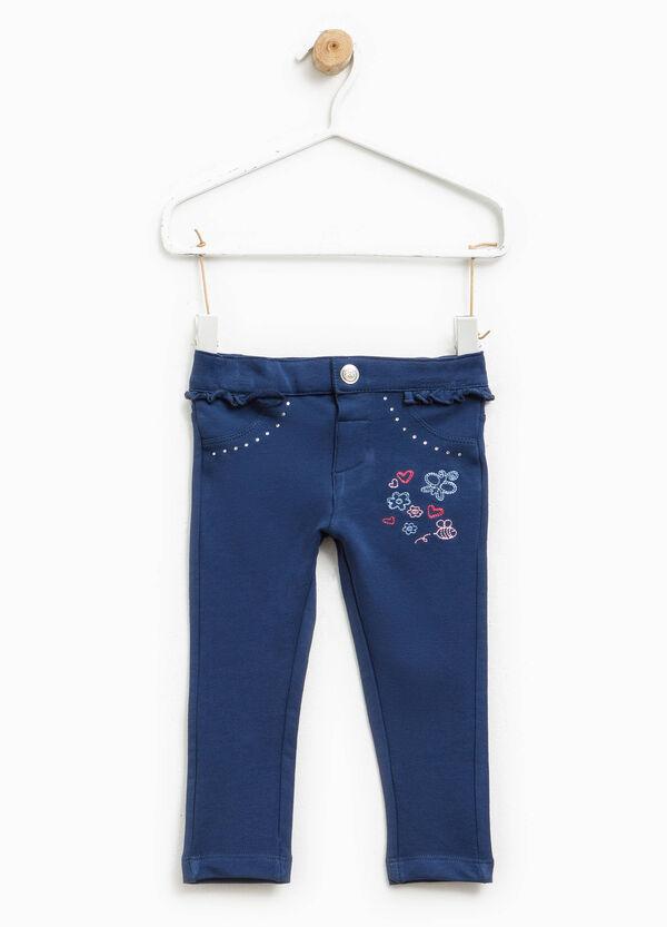 Stretch trousers with diamantés and embroidery   OVS