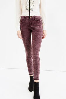 High waist stretch jeans with unstitched hem, Claret Red, hi-res