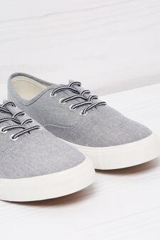 Low sneakers in denim-effect, Light Grey, hi-res