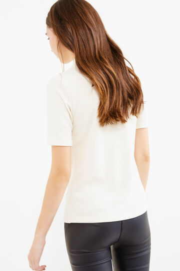 Stretch ribbed T-shirt with lettering print, Milky White, hi-res