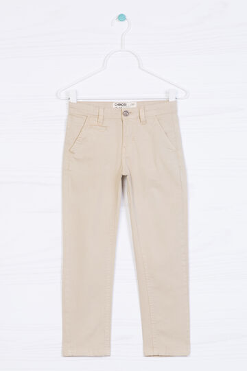 Stretch cotton chinos, Beige, hi-res