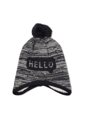 Hat with pompom, Grey/Blue, hi-res