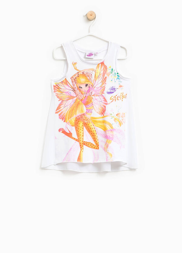Cotton top with Winx glitter print | OVS