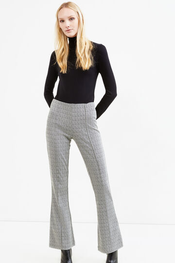 Patterned stretch flared trousers, White/Black, hi-res