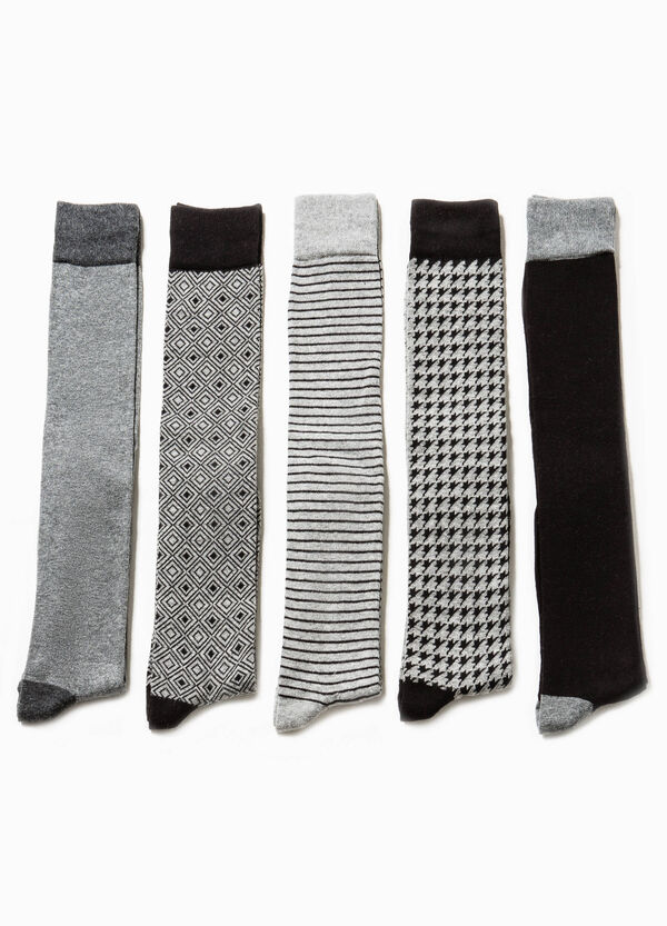 Five-pair pack solid colour and patterned socks | OVS