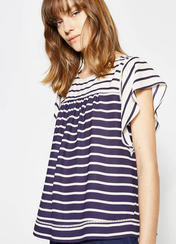 Striped blouse with openwork insert | OVS