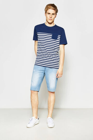Straight-fit denim Bermuda shorts with zip
