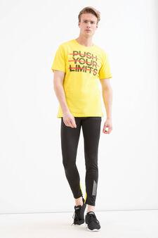 Pantaloni sportivi stretch, Nero/Giallo, hi-res