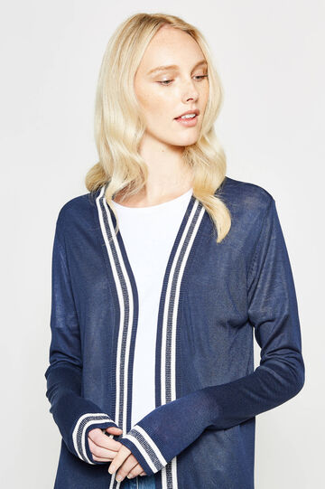 Cardigan with ribbed glitter stripes
