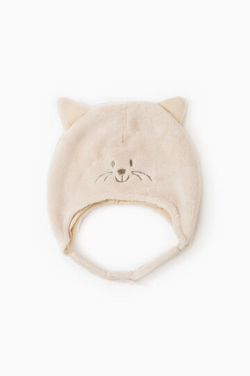Beanie cap with ears and ties, Beige, hi-res