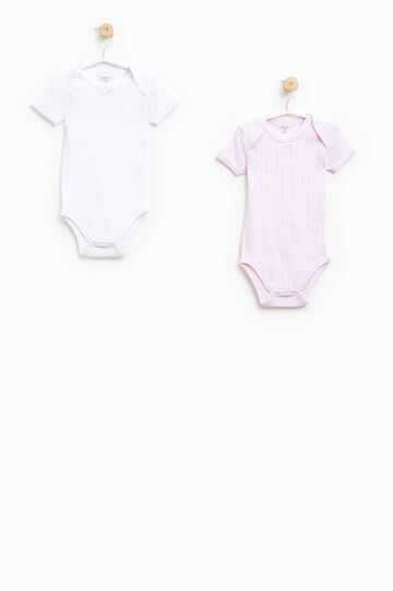 Two-pack openwork bodysuits in cotton, White/Pink, hi-res