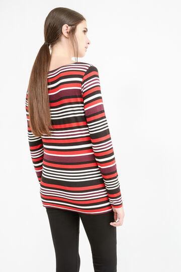 Striped T-shirt in stretch viscose, Black/Red, hi-res