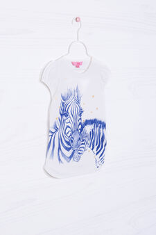 Stretch cotton T-shirt with zebra print, Milky White, hi-res