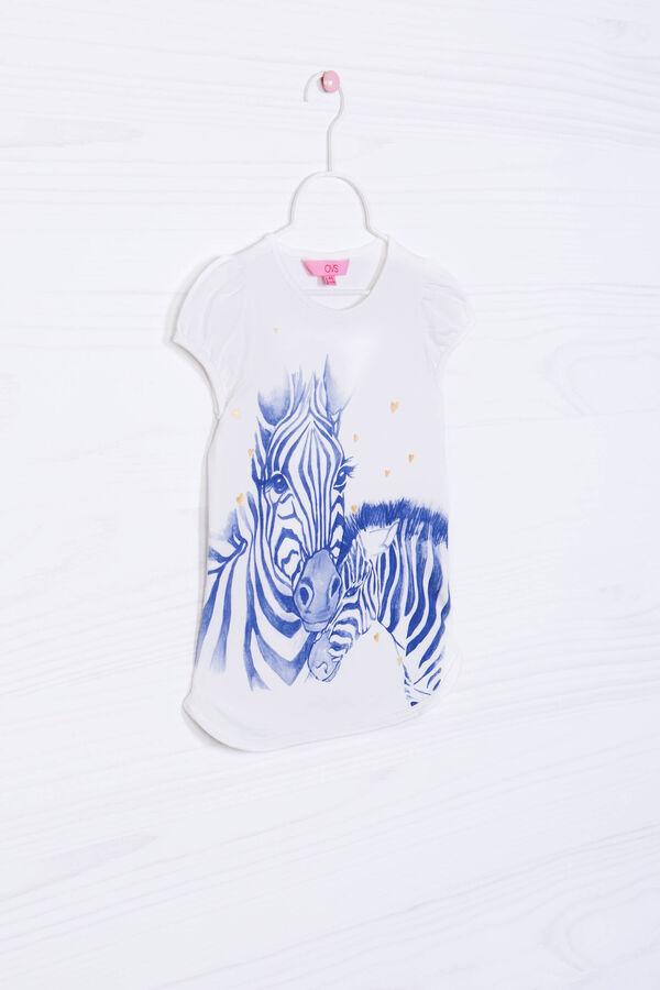 Stretch cotton T-shirt with zebra print | OVS