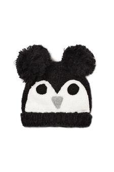 Beanie cap with faux fur, Black, hi-res