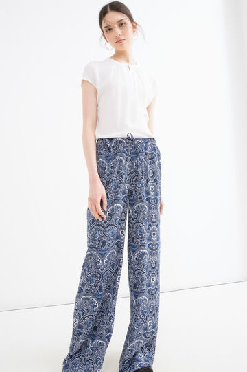 Trousers with all-over print, Blue, hi-res
