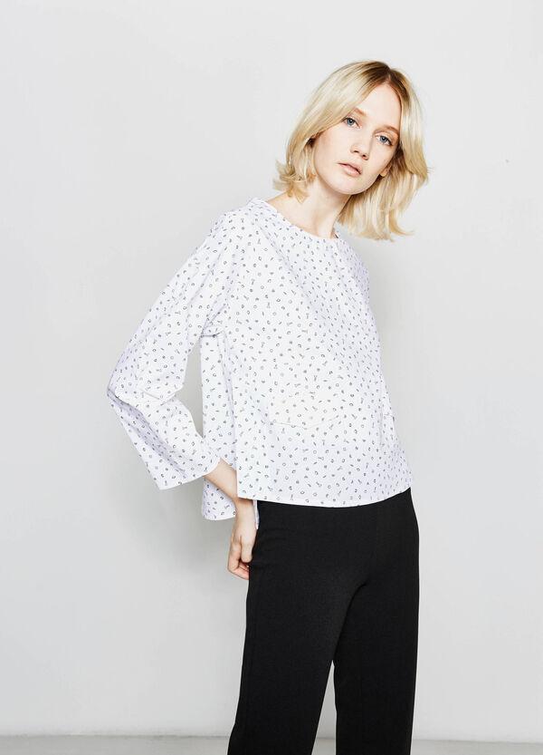 Blusa de algodón con cremallera detrás | OVS
