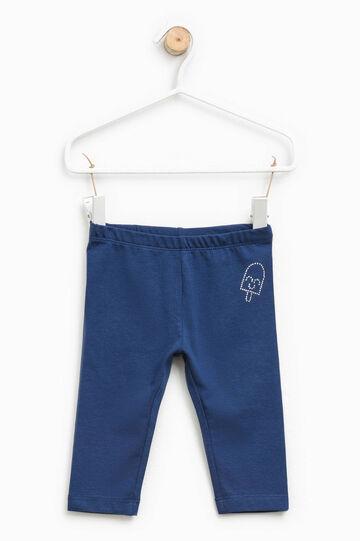 Cotton leggings with diamantés, Navy Blue, hi-res