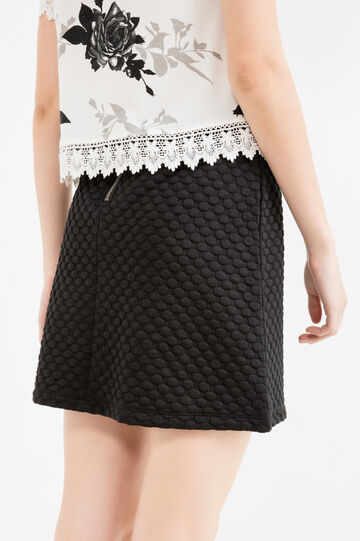 Stretch mini skirt with raised polka dots, Black, hi-res