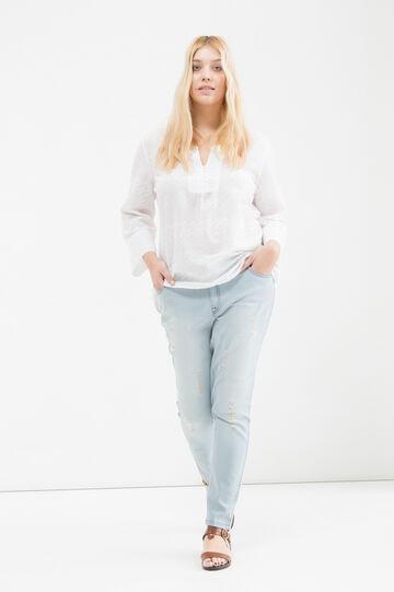 Curvy cotton V-neck blouse, White, hi-res