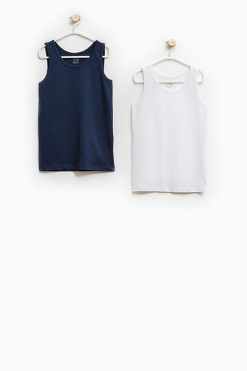 Two-pack cotton vest tops, Navy Blue, hi-res