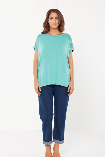 Curvy T-shirt with shoulder inserts, Turquoise Blue, hi-res