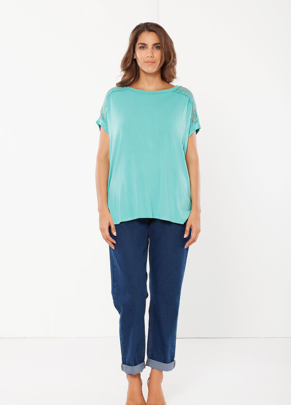 Curvy T-shirt with shoulder inserts | OVS