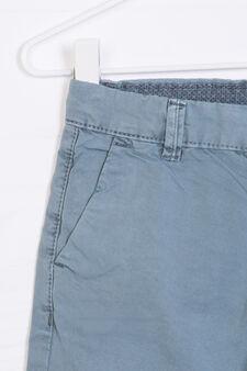 Solid colour cotton Bermuda chinos, Petrol Blue, hi-res