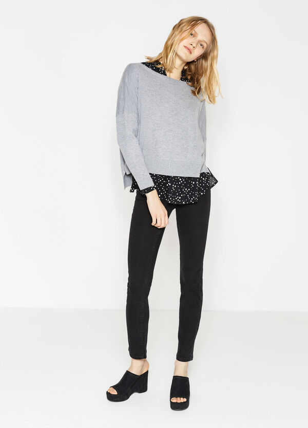 Crop pullover with asymmetrical hem | OVS