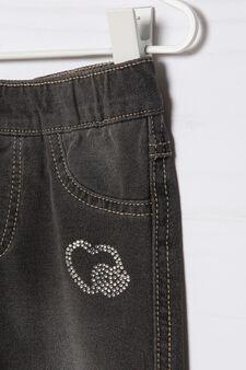 Stretch cotton jeggings with diamanté motif, Grey, hi-res