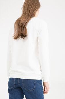 Cotton blend printed sweatshirt, Milky White, hi-res