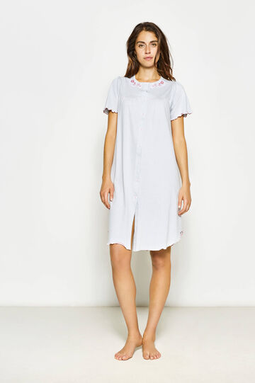 Polka dot nightshirt with floral embroidery