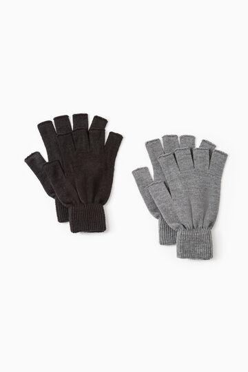 Set due guanti senza dita stretch, Nero/Grigio, hi-res