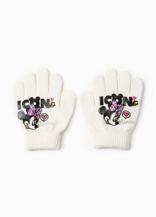 Solid colour gloves with Minnie Mouse print | OVS