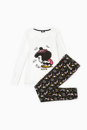 100% cotton pyjamas with Mafalda print, White/Black, hi-res