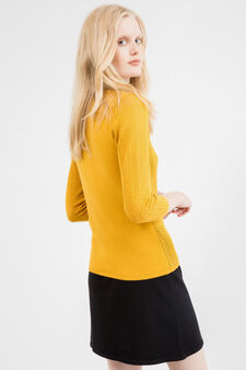 Solid colour knitted cotton cardigan, Ochre Yellow, hi-res