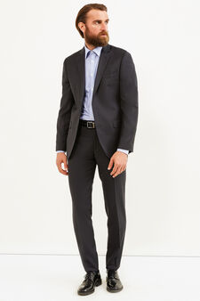 Elegant, slim-fit, pure wool suit, Dark Grey, hi-res