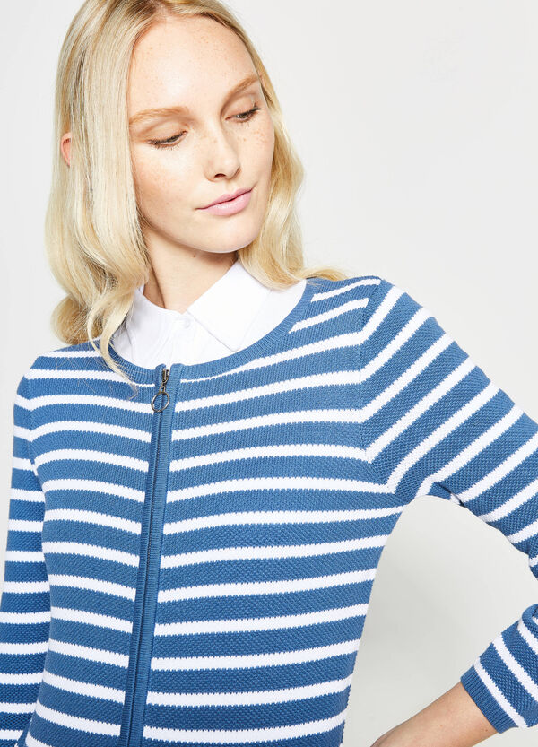 Striped cardigan with zip | OVS