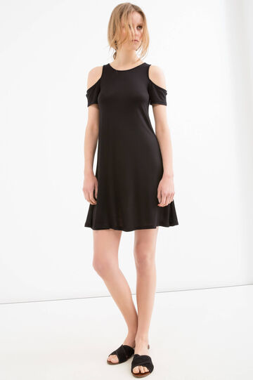 100% viscose crew neck dress, Black, hi-res