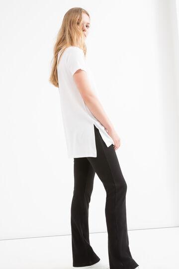 Printed stretch viscose T-shirt, White, hi-res